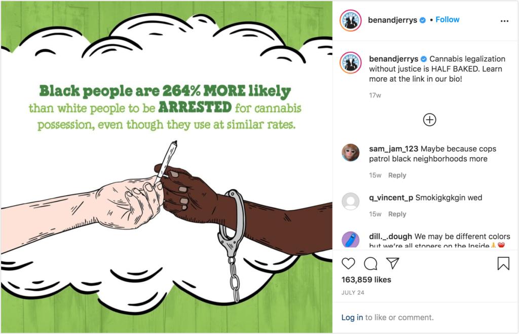 Brand Activism Kampagne der Marke Ben & Jerry's auf Instagram