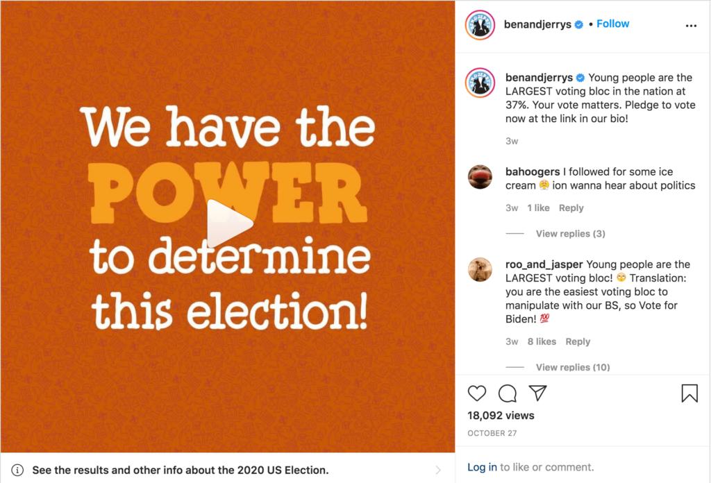 Brand Activism Kampagne zur US Wahl 2020