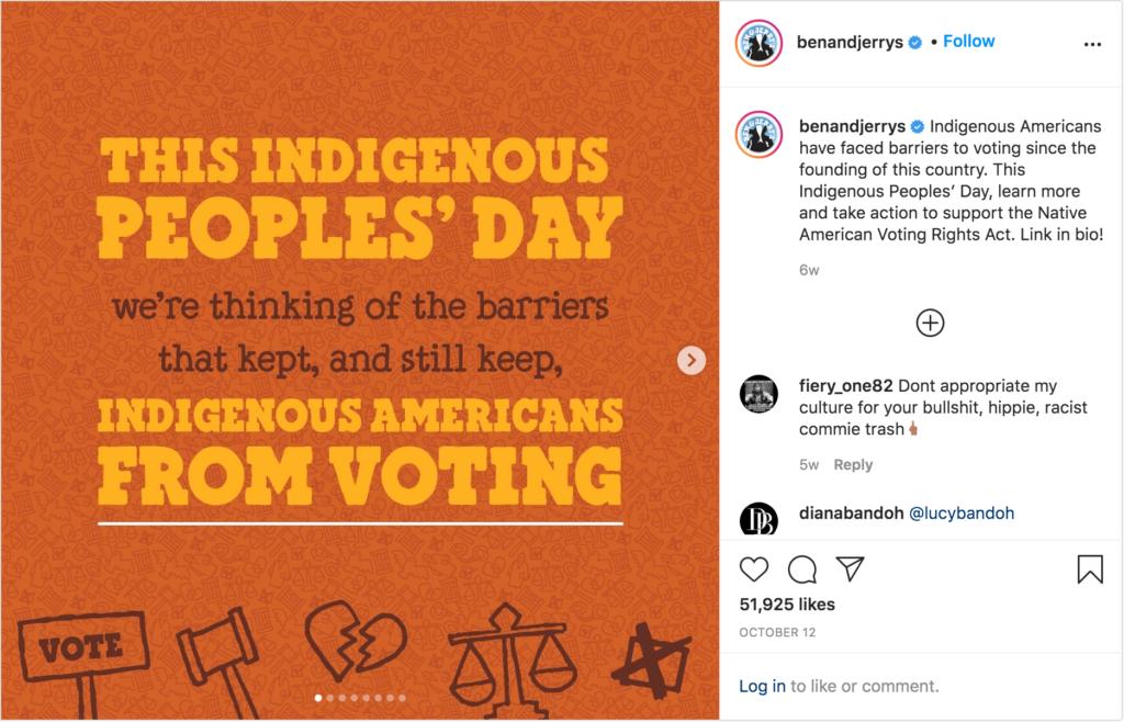 Instagram Post der Marke Ben & Jerry's