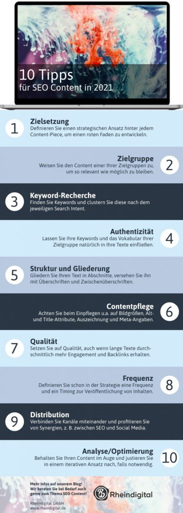 Die Infografik greift die 10 Tipps für SEO Content noch einmal übersichtlich auf.