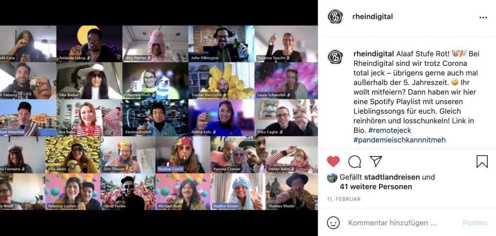 Screenshot der Karnevals Videokonferenz mit dem verkleideten Rheindigital Team