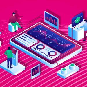 Die Infografik zeigt einen Monitor, der auf dem Boden liegt. Er zeigt eine Datenkurve. Um ihn herum stehen Figuren, die an Touch Points Daten eingeben.